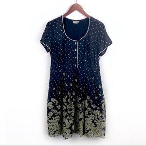 eShakti Navy Floral Cotton A-Line Dress